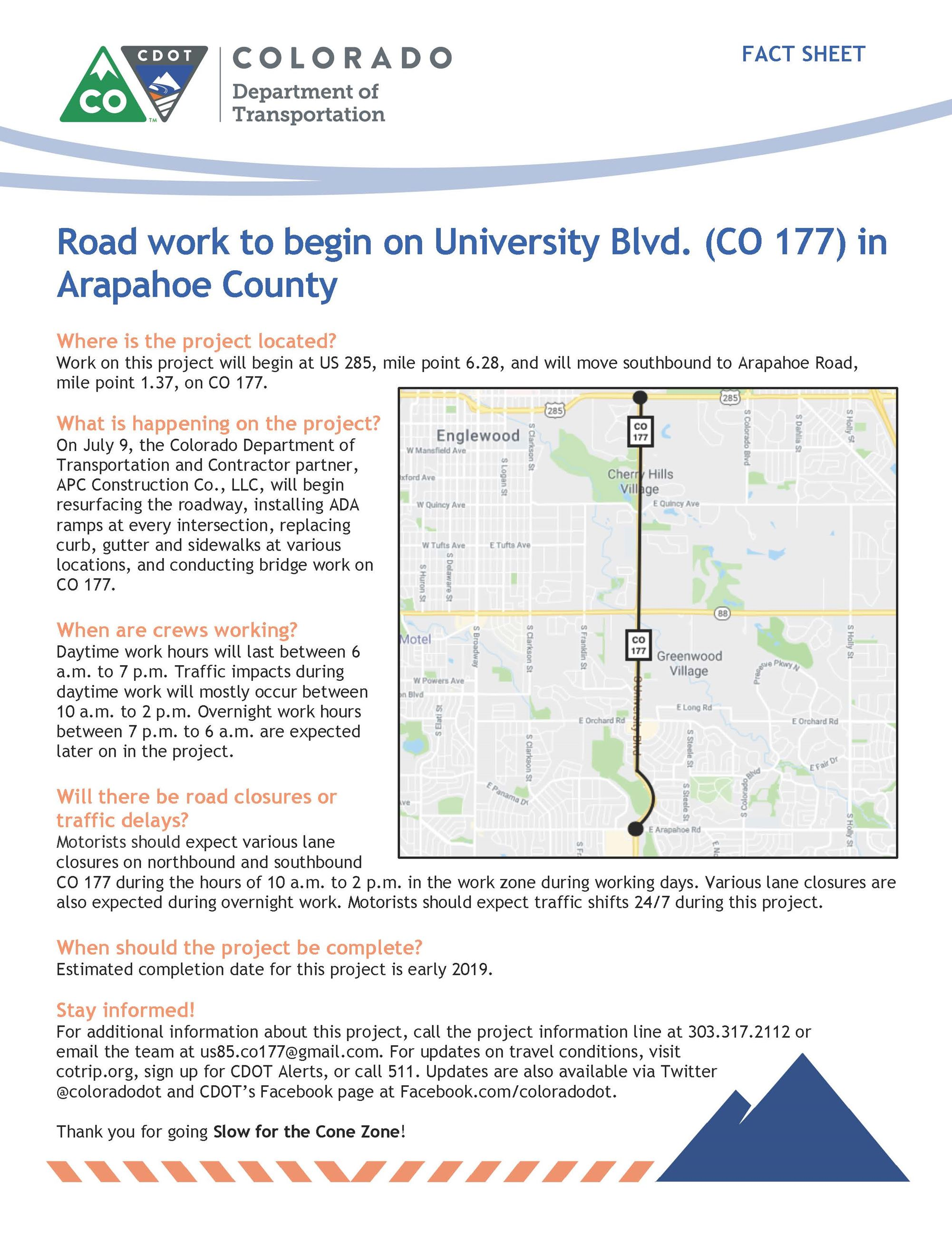 CO 177 between Hampden Ave and Arapahoe Rd Project Announcement Flyer