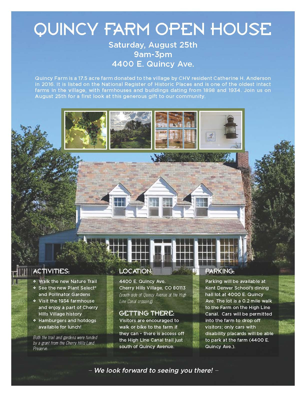 Quincy Farm Open House flyer
