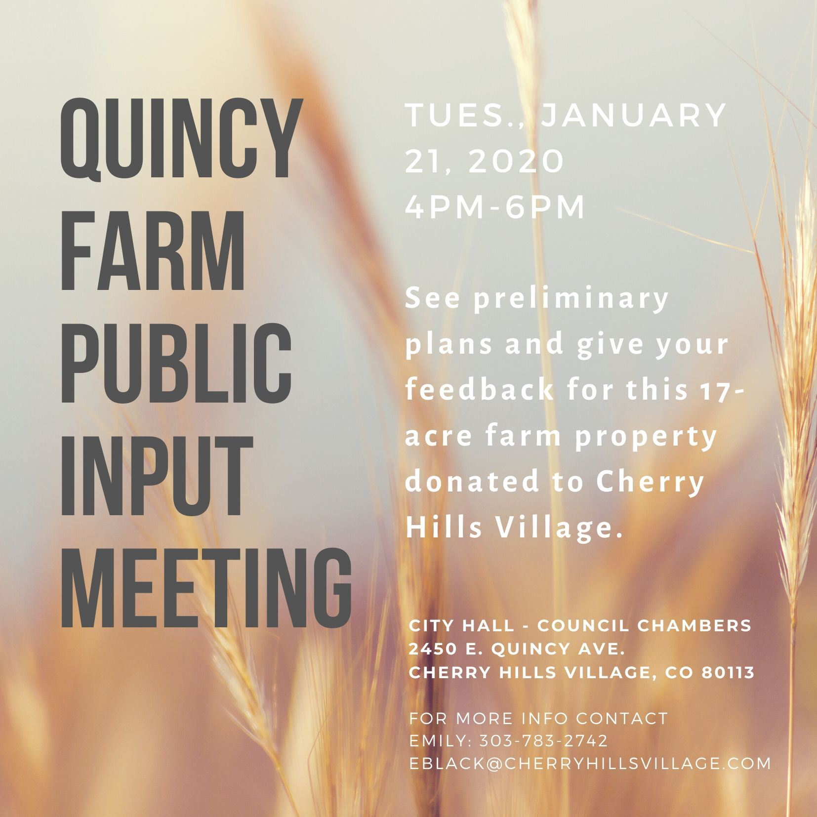 Quincy Farm Master Plan Jan 2020 Public Input meeting flyer