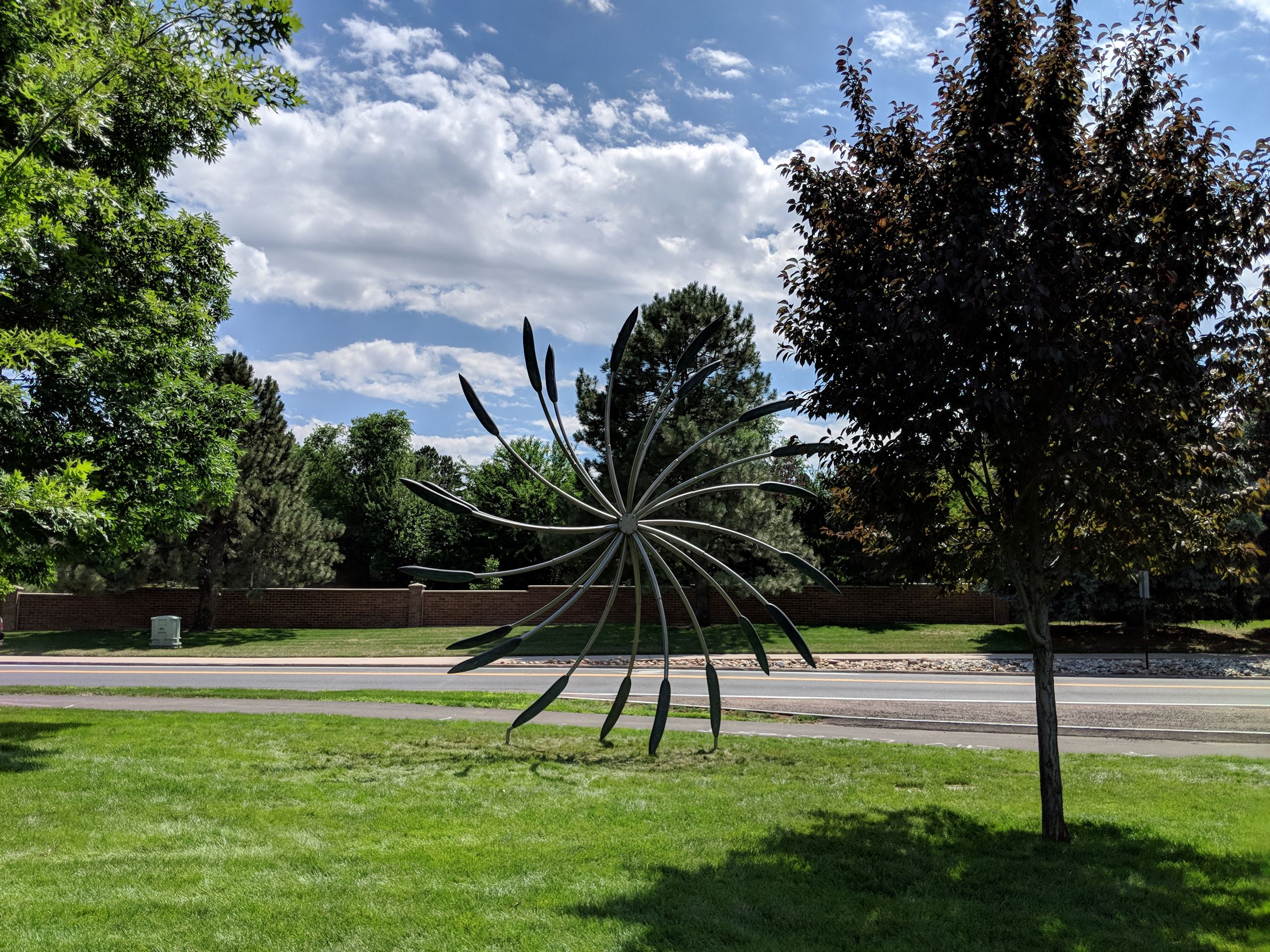 Big Bronze Walking Eye Flower in City Park